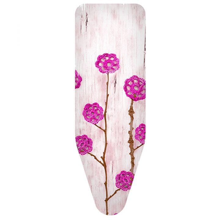 Чехол для гладильной доски Colombo Fiori di lana rosa 130х50